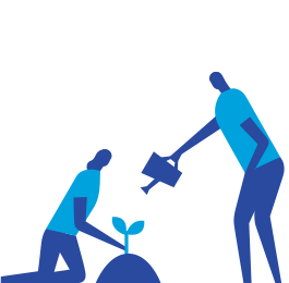 Blue icon of two people watering a plant