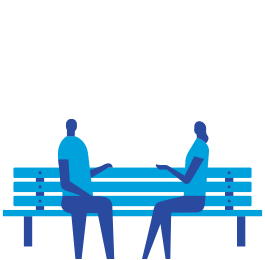 Blue icon of two people sitting on a park bench