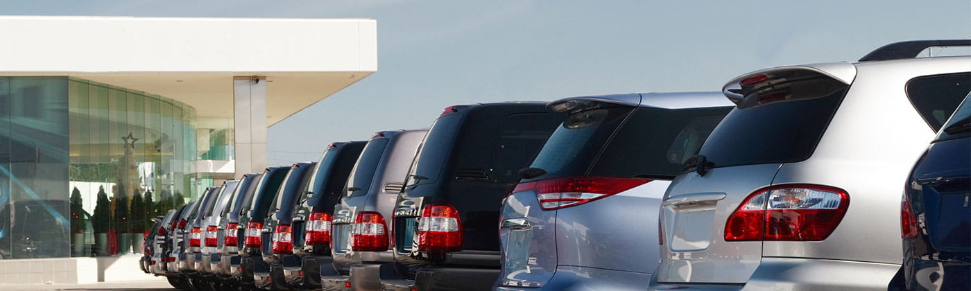Line of vehicles at an auto dealership