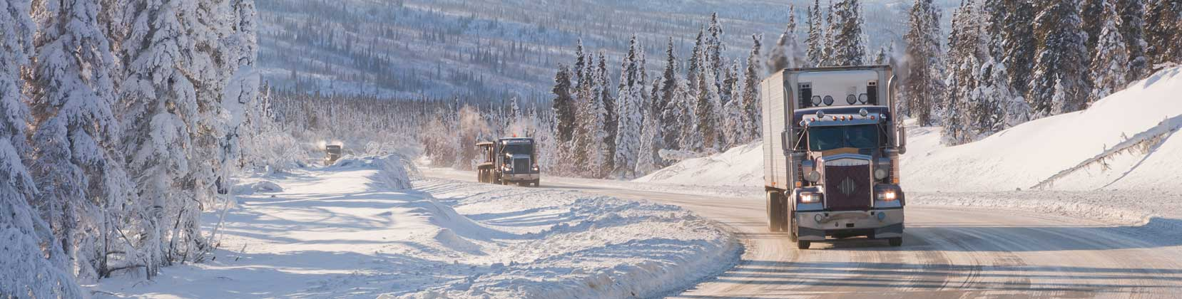 Semi trucks on winter road
