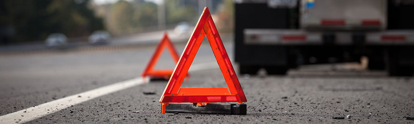 Safety triangles on roadside